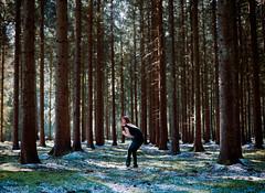 The forrest for the trees (martin wilmsen) Tags: film analog mamiya mediumformat mamiya645 80mm trees forrest snow model dutchpeople 6x45 kodak portra400 kodakportra