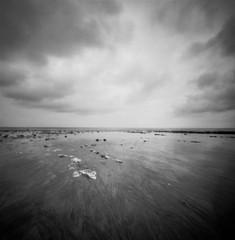 Danes Dyke Beach (Richie Rue) Tags: beach pinhole mediumformat 6x6 120 squareformat film analogue ilfordpanf50 rodinal ishootfilm istillshootfilm filmsnotdead landscape intimatelandscape mindfulphotography contemplativephotography seaside coast yorkshire northern