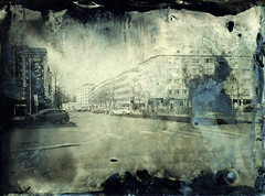 Streets of Oulu I (Sonofsono) Tags: oulu finland black bw white ambrotype fkd longexposure largeformat collodion glass