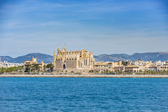 Cathedral of Palma de Mallorca (Sebas Adrover) Tags: balearic island mallorca marine nautical palma sea coast littoral mediterranean spain landscape travel ship azure resort capital terrace europe outdoor city architecture sky nature water vacation urban view cityscape day modern beautiful summer majorca background port mountain tourism cathedral holidays boat blue yacht harbor panoramic bay tourist panorama building sunny
