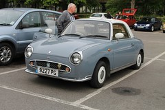 Nissan Figaro (9227 PG) (Ray's Photo Collection) Tags: faversham nissan figaro centralcarpark 9227pg kent england uk transport weekend classic car show oldtimer