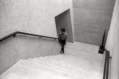* (David Davidoff) Tags: staircase lady human geometry leicam6ttlsummaron35mmf35goggles blackwhifefilm analogue above kentmere400