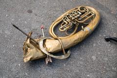 Wrecked tuba with arrows protruding out of it (Ivan Radic) Tags: pfeile wrecked arrows flattened plattgemacht pokingout tuba zerstã¶rt canoneosm50 canon50mmf14usm viltroxefeosm2 viltroxefeosm2071x speedbooster zerstört ivanradic