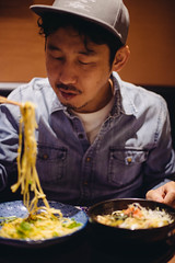 2019.5.20 (Nazra Z.) Tags: vscofilm raw okayama japan 2019 portrait husband japanese asian man food pasta spaghetti italian chopsticks iftar bukapuasa