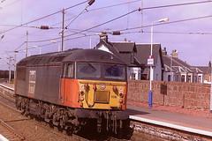 EWS LOAD HAUL LIVERIED 56106 (bobbyblack51) Tags: british railways ews load haul liveried class 56 brush ruston paxman type 5 coco diesel locomotive 56106 newton on ayr station 1997