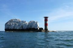 (and the moon rose) Tags: isleofwight uk england alumbay theneedles lighthouse needleslighthouse sea