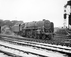 Crewe South, 70054 Dornoch Firth (Garter Blue) Tags: crewe crewenorth steam riddles britannia pacific film monochrome blackwhite bw 1960s loco shed
