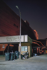 (patrickjoust) Tags: fujica gw690 kodak portra 160 6x9 medium format 120 rangefinder 90mm f35 fujinon lens c41 color negative film cable release tripod long exposure night manual focus analog mechanical patrick joust patrickjoust united states north america estados unidos vertical customer parking sign garage street light garbage alley augusta ga georgia