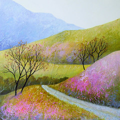 The Tranquil Dale IV (deborah (debs) eileen burrow) Tags: hills heather painting contemporary art artist trees