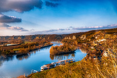 View of Viking Rolf riverboat docked at Les Andelys from Château Gaillard (castle ruin build by Richard the Lionheart, Normandy Region. France -23a