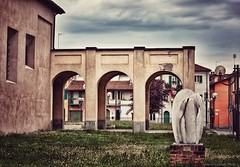 City colors ...  (Fossano, Piedmont, Italy). (Federico Fulcheri Photo) Tags: federicofulcheriphoto©️ italy piedmont fossano street town city arch clouds sky grss art sculpture building tourism travel colors architecture nopeople outdoors snapseed canonitalia canon