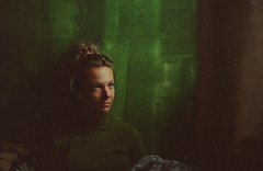 1234 (wu.shaolin) Tags: zenit et analog film camera exposure 50mm f2 20 kodak nature latvija latvia riga seaside girl light shadow colorful colors beautiful woman blonde green background amazing eyes look room curtain curly hair