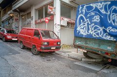 Exarcheia, Athens, Greece. (wojszyca) Tags: fuji tiara zoom dl 35mm compact lomography color negative 100 car auto soloparking carspotting exarcheia athens greece urban decay streetart graffiti city streetview