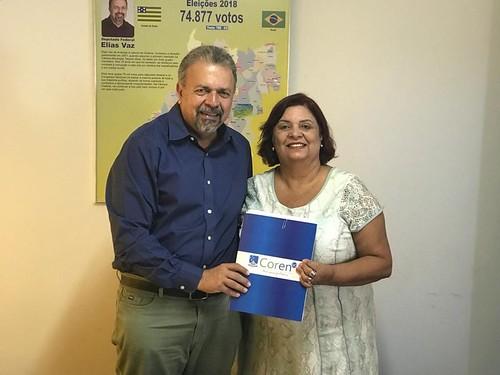Recebi nesta manhã a presidente do Conselho Regional de Enfermagem em Goiás, Ivete Santos Barreto