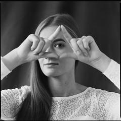 A (Attila Pasek (Albums!)) Tags: hp5 analogue girl bronicasqa studio blackandwhite mediumformat 6x6 camera 120film woman portrait ilford film bw