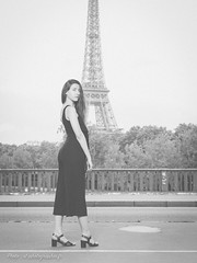 Fashion in Paris (sebastienloppin) Tags: fashion mode girl paris toureiffel eiffeltower canon 50mm f12 blackandwhite blackwhite noiretblanc noirblanc film lightroom posing