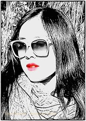 Arty rendering of cute young woman (tbeckeryvr) Tags: sketch young woman highlight red lips flowing hair art image sunglasses graphics line work cute attractive monochrome color accent