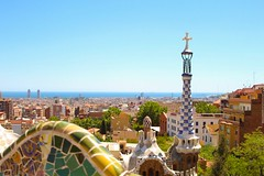 Barcelona Cityscape (jgra9601) Tags: parcguell view holiday 24mm tamron 4000d canon tower mosaic buildings sky sun cityscape barcelona
