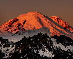Sunrise Glow on Mt. Rainier (danbriscoephotography) Tags: rainier sunrise glacier mountian mount ridge snow beautiful morning refletion nature majestic washington cascade volcano nikon d7000