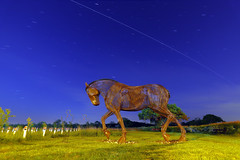 War Horse & The International Space Station 3 90 Second Exposures (Yorkshire Pics) Tags: warhorse warhorsefeatherstone featherstone featherstonewarhorse millpondmeadow there but therebutnotthere remembered tommyfigures tommysilhouettes 2005 20052019 20thmay 20thmay2019 spcaestation iss internationalspacestation