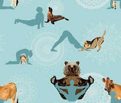 animal asanas (CreateMyWorldDesigns) Tags: animal asana asanas yoga pose downwardfacingdog cat cow balancingbear seal humansilhouette fitness spoonflower mandala dog bear human