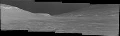 Visual Gap in the Terrain, variant (sjrankin) Tags: 21may2019 edited nasa grayscale sky hills mars msl curiosity galecrater haze mountsharp bayerdecoded output app