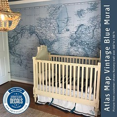 Nursery Wall Mural WORLD MAP Atlas Wall Fabric or Vinyl Decal (CoolHomeStyling) Tags: home decor design styling interior