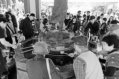Gathered at the Fountain - Senso-Ji Temple, Tokyo, Japan (TravelsWithDan) Tags: purificationfountain fountain water people candid bw blackandwhite temple sensoji asakusa tokyo japan canong3x fromabove urban city