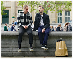 Retail Therapy (donbyatt) Tags: london people street candid trafalgarsquare bench