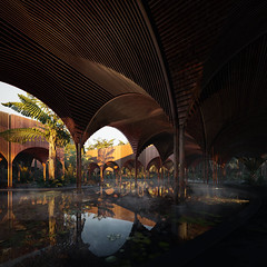 Sleeping Bath in the Jungle | In-House project (zoastudio) Tags: bath sleeping tiger visualization cgi 3dsmax photoshop architecture jungle morning drinking