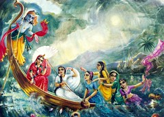 Krishna-sakhis go for a wild boat ride (infiniteys) Tags: radha krishna gopis lila leela pond water lake recreation relaxation play pleasure enjoy picnic trip young couple swing outdoor idyllic vrindavan dieties joy kids woods activity youth pastimes people tree free perfection wonderful ancient divine hindu india peace heaven gods nature living alive love mythology indian happiness happy mystical mythical art radhe krishan culture painting friends companions enchant mesmerize devotion enthrall maidens exotic boat exhilarating thrill wild