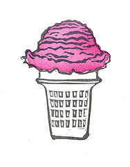 Ice Cream - Mini Print (lwdphoto) Tags: lance duffin lancewadeduffin lanceduffin icecream icecreamcone miniprint blockprint print printmaking ink art linocut stamp