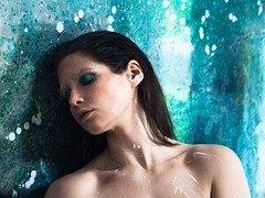 Back In My Body (Jill Foran Photography) Tags: dream somber feeling 2470mm sigmalens nikkor green blue fineart womanportrait bodypaint painting