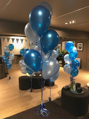 Tafeldecoratie 7ballonnen Lichtblauw en Blauw