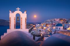 Oia Moonset (albert dros) Tags: santorini oia greece travel church bell bluehour moon moonset moonrise bluedome