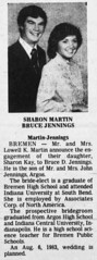 1982 - Bruce Jennings marries Sharon Martin - South Bend Tribune - 17 Oct 1982