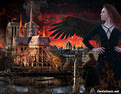 Phoenix with Her Consort-Shift Art Challenge, May, 2019 Honorable Mention (lewis1997) Tags: notredame phoenix lindalewis fire digitalart