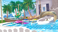 Run! Come to the party! (Silvia Galtier) Tags: alananazareowyn jaradnoor silviagaltier sl secondlife mesh bento blog beach pool astralia figure furniture decor figure8 alananazar aphrodite nazar noor jarad