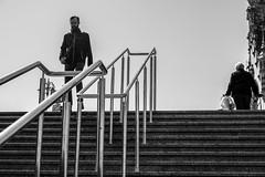untitled (gregor.zukowski) Tags: gdansk gdańsk street streetphoto streetphotography peopleinthecity candid blackandwhite blackandwhitestreetphotography bw urban geometry peopleingeometry stairs fujifilm