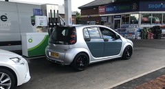Smart Forfour Brabus (Sam Tait) Tags: brabus forfour smart car tuned sport german 15 1500 petrol silver 2005 bp gas station garage pump forecourt