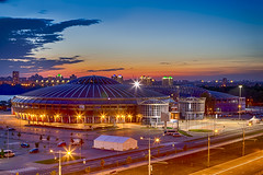 Night View of Chizhovka Arena Sport Complex as One of the Main Sport Venues for The Second European Games in Minsk. Belarus. (DmitryMorgan) Tags: 2019 belarus minsk republicofbelarus architecture arena bluehour building championship chizhovka chizhovkaarena city complex construction design dome editorial europe europeangames exterior facade famous futuristic game glass ice modern new night reflection round sky sport stadium tchijovka twilight urban venue
