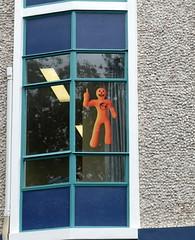 The little orange man (boeckli) Tags: napier windows 012735 rx100m6 windowwednesdays window fenster gebäude orange outdoor newzealand reflections spiegelung