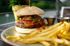 Burger w/ cheddar, gochujang ketchup, pickled bok choy, fried ramen - Table 9 (sheryip) Tags: cheddar gochujangketchup pickledbokchoy friedramenburgerfoodfoodpornmorgantownwvwvusheryipxt2