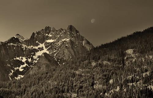 The Moon Setting over Castle Rock and the Bonanza Massif Range (Black & White, North Cascades National Park Service Complex)