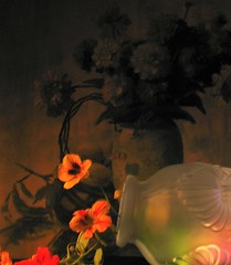 The Dull Soft Shock (Rand Luv'n Life) Tags: odc our daily challenge vase up lit diffused lighting amber side vintage 930s floral print background bright poppy flowers satin fenton glass indoor composition still life
