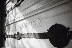 Ricoh R1 Sunnyside Mausoleum 7 (▓▓▒▒░░) Tags: ricoh r1 compact point shoot bw black white monochrome wide angle japan analog mechanical design style classic vintage retro antique 35mm film camera la los angeles lbc longbeach sunnyside forest lawn mausoleum cemetery grave statue pendulum tiles history architecture