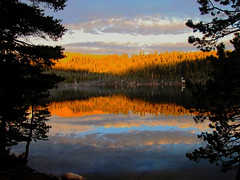 Reflections , Lake Alpine, CA (moonjazz) Tags: california travel trees light sunset summer lake mountains reflection nature beauty forest photography mirror high fishing spirit alpine soul awe sierranevada pure vacationclouds