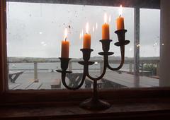 candles (helena.e) Tags: helenae hönöklåva ljusstacke candlestick älsa husbil rv motorhome regn rain franses fönster window bohuslän