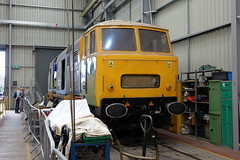 D7029 inside the shed at kidderminster. (rharwood75) Tags: locomotive hymek class35 shed tools fence people