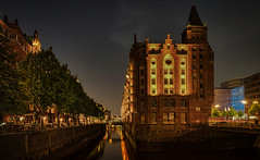 Hamburg Speicherstadt (norbert.wegner) Tags: night architecture illuminated famousplace dusk europe river urbanscene cityscape city reflection twilight tower history canal travel builtstructure tourism gothicstyle buildingexterior germany speicherstadt hamburg